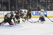 (L-R) Marc-Andre Fleury #29 and Nate Schmidt #88 of the Vegas Golden Knights, Tobias Rieder #10 of the Los Angeles Kings, Brayden McNabb #3 of the Golden Knights and Tyler Toffoli #73 of the Kings battle for the puck in front of the net in the first period of Game One of the Western Conference First Round at T-Mobile Arena on April 11, 2018 in Las Vegas, Nevada.