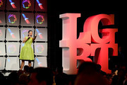 Andrea Fiuczynski speaks onstage at Los Angeles LGBT Center's 48th Anniversary Gala Vanguard Awards at The Beverly Hilton Hotel on September 23, 2017 in Beverly Hills, California.
