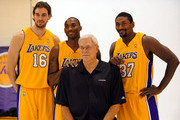 Pau Gasol #16, Kobe Bryant #24, Coach Phil Jackson and Ron Atrest #37 of the Los Angeles Lakers pose for a photograph during Lakers media day at their training facility on  September 29, 2009 in El Segundo, California. NOTE TO USER: User expressly acknowledges and agrees that, by downloading and/or using this Photograph, user is consenting to the terms and conditions of the Getty Images License Agreement.