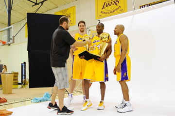 Kobe Bryant Derek Fisher Los Angeles Lakers Media Day