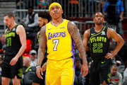 Isaiah Thomas #7 of the Los Angeles Lakers reacts during the game against the Atlanta Hawks at Philips Arena on February 26, 2018 in Atlanta, Georgia.  NOTE TO USER: User expressly acknowledges and agrees that, by downloading and or using this photograph, User is consenting to the terms and conditions of the Getty Images License Agreement.