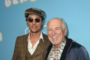 Matthew McConaughey (L) and Jimmy Buffett arrive at the Los Angeles Premiere for Neon and Vice Studio's The Beach Bum at ArcLight Hollywood on March 28, 2019 in Hollywood, California.