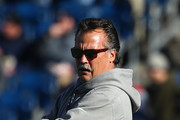 Head coach Jeff Fisher of the Los Angeles Rams stands on the field before the game against the New England Patriots at Gillette Stadium on December 4, 2016 in Foxboro, Massachusetts.