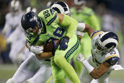 Tight end Jimmy Graham #88 of the Seattle Seahawks rushes against the Los Angeles Rams at CenturyLink Field on December 15, 2016 in Seattle, Washington.