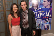 "Amy Okuda and Keir Gilchrist attend the Los Angeles Special Screening of Netflix's ""Atypical"" Season 2""  at The London Hotel on September 5, 2018 in West Hollywood, California."