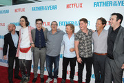 "(L-R) Brandon Cournoyer, Bill Kottkamp, Joey Bragg, Allen Covert, David Spade, Matt Shively, Nat Faxon and Tyler Spindel arrive at ""Father Of The Year"" LA Special Screening at ArcLight Hollywood on July 19, 2018 in Hollywood, California."