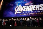 """Director Joe Russo, Anthony Russo, Mark Ruffalo, Chris Evans, Robert Downey Jr., Scarlett Johansson, Jeremy Renner, Chris Hemsworth, Executive producer Jon Favreau, President of Marvel Studios/Producer Kevin Feige, and Executive producer Louis D'Esposito attend the Los Angeles World Premiere of Marvel Studios' """"Avengers: Endgame"""" at the Los Angeles Convention Center on April 23, 2019 in Los Angeles, California."""