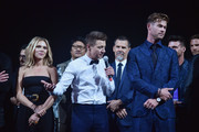 """(L-R) Scarlett Johansson, Jeremy Renner, and Chris Hemsworth speak onstage during the Los Angeles World Premiere of Marvel Studios' """"Avengers: Endgame"""" at the Los Angeles Convention Center on April 23, 2019 in Los Angeles, California."""