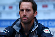 Land Rover Bar skipper Ben Ainslie looks on during the Louis Vuitton America's Cup World Series Racing Skipper press conference at the Brookfield Place on May 05, 2016 in New York City.