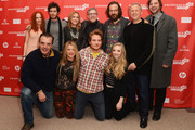 """(Clockwise from L-R) Actors Juno Temple and Adam Brody, producer Laura Rister, co-director Jeffrey Friedman, actor Peter Sarsgaard, co-director Rob Epstein, producer Jim Young and actor Chris Noth, producer Heidi Jo Markel and actors Brian Gattas and Amanda Seyfried attend the """"Lovelace"""" premiere at Eccles Center Theatre during the 2013 Sundance Film Festival on January 22, 2013 in Park City, Utah."""