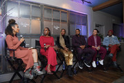 "(L-R) Elaine Welteroth, Issa Rae, Yvonne Orji, Jay Ellis, Alexander Hodge and Prentice Penny speak at the Lowkey ""Insecure"" Dinner presented by Our Stories to Tell at Firewood on January 25, 2020 in Park City, Utah."