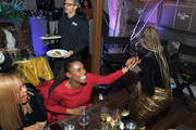 "Issa Rae and Yvonne Orji laugh at the Lowkey ""Insecure"" Dinner presented by Our Stories to Tell at Firewood on January 25, 2020 in Park City, Utah."