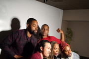 "Jay Ellis, Alexander Hodge, Yvonne Orji, Issa Rae and Prentice Penny pose for a photo booth at the Lowkey ""Insecure"" Dinner presented by Our Stories to Tell at Firewood on January 25, 2020 in Park City, Utah."