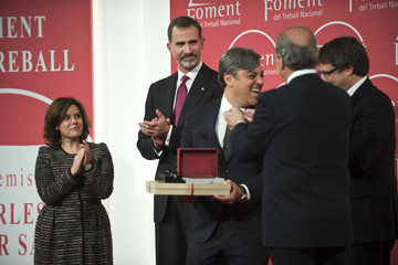 Luca De Meo King Felipe Of Spain Delivers 'Carles Ferrer Salat' Awards and 'Foment Del Treball' Honor Medals