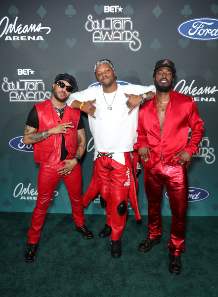 BET Presents: 2019 Soul Train Awards -  Backstage And Audience [red,event,suit,carpet,talent show,red carpet,performance,audience,luke james,ro james,bj the chicago kid,backstage,l-r,las vegas,nevada,bet,bet presents: 2019 soul train awards]
