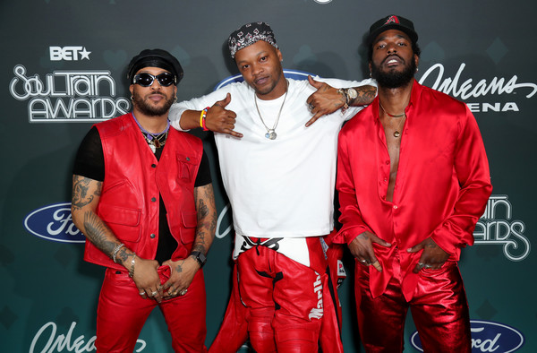 BET Presents: 2019 Soul Train Awards -  Backstage And Audience [red,rapper,music,performance,event,talent show,rapping,audience,luke james,ro james,bj the chicago kid,backstage,l-r,orleans arena,las vegas,nevada,bet presents: 2019 soul train awards]