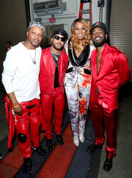 BET Presents: 2019 Soul Train Awards -  Backstage And Audience [red,event,fashion,team,costume,jacket,party,audience,luke james,yolanda adams,bj the chicago kid,backstage,l-r,orleans arena,las vegas,nevada,bet presents: 2019 soul train awards]