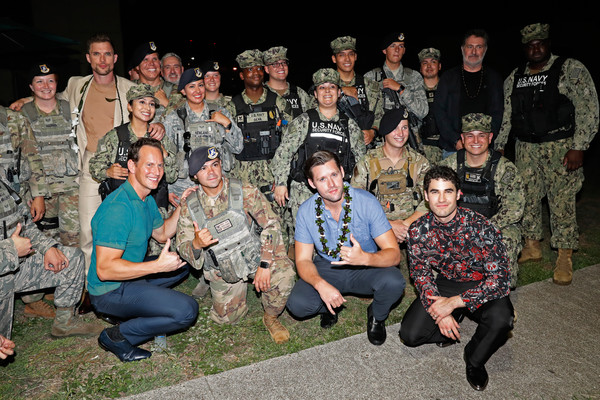 'Midway' Special Screening - Joint Navy Base Pearl Harbor - Hickam [soldier,military camouflage,people,army,social group,troop,military,military uniform,military organization,team,navy base,soldiers,luke kleintank,darren criss,ed skrien,joint base pearl harbor-hickam,midway special screening - joint,l-r,group,pearl harbor]
