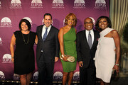 Karin Sadove, Chairman and CEO of Saks Fifth Avenue Stephen I. Sadove, Gayle King, Weather Anchor Al Roker and News Correspondent Deborah Roberts attend the Lupus Foundation of America New York City Butterfly Gala at The Pierre Hotel on October 11, 2011 in New York City.