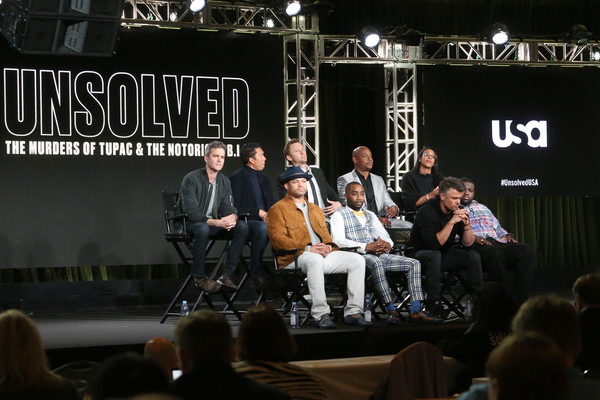 2018 Winter TCA Tour - Day 6 [kyle long,anthony hemingway,lyah beth leflore,creator,actors,guest panelist,co-producer,jimmi simpson,top l-r,event,performance,stage equipment,stage,music,audience,crowd,winter tca]