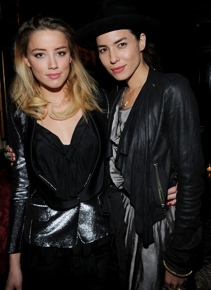 L to R Amber Heard and Taysa Van Ree attend the MercedesBenz Fashion Week