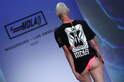 A model walks the runway during the MDLA by Bill Kaulitz fashion show during the AYFW - About You Fashion Week at ewerk on July 06, 2019 in Berlin, Germany.