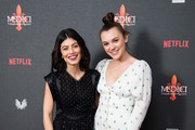 "(L-R) Alessandra Mastronardi and Synnove Karlsen attend the premiere of ""MEDICI: The Magnificent"" at The Soho Hotel on January 18, 2019 in London, England."