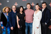 "(L-R) Matilda Bernabei, executive producer Frank Spotnitz, Alessandra Mastronardi, Bradley James, Synnove Karlsen and executive producer Luca Bernabei attend the premiere of ""MEDICI: The Magnificent"" at The Soho Hotel on January 18, 2019 in London, England."