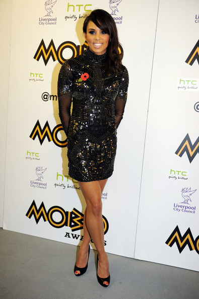 Louise Hazel poses in the awards room at the 2012 MOBO awards at Echo Arena on November 3, 2012 in Liverpool, England.
