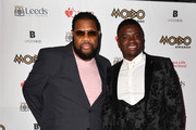 Fatman Scoop (L) and Michael Dapaah attend the MOBO Awards at First Direct Arena Leeds on November 29, 2017 in Leeds, England.