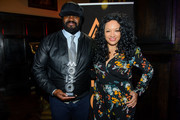 Kanya King and Gregory Porter during the MOBO Outstanding Achievement Award announcement at Gresham Centre on November 7, 2017 in London, England.
