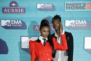 Leomie Anderson and Lancey Foux (R) attend the MTV EMAs 2017 held at The SSE Arena, Wembley on November 12, 2017 in London, England.
