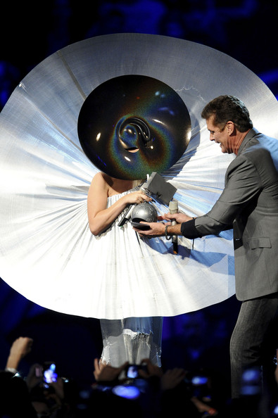 Singer Lady Gaga receives the award for Best Female from actor David Hasselhoff onstage during the MTV Europe Music Awards 2011 live show at at the Odyssey Arena on November 6, 2011 in Belfast, Northern Ireland.