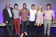 """Nick Adams, Michael J. Willett, Carter Covington, Elliot Fletcher, Rita Volk and Silas Howard pose for a photo on stage at MTV's """"Faking It"""" screening at the Los Angeles LGBT Centeron on May 02, 2016 in Hollywood, California."""
