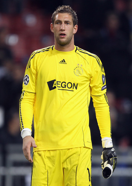 Maarten Stekelenburg AFC Ajax goalkeeper Maarten Stekelenburg looks on during the UEFA Champions League Group G match between AFC Ajax and AJ Auxerre at the Amsterdam ArenA on October 19, 2010 in Amsterdam, Netherlands.
