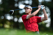 Jesse Smith of Canada hits his tee on the first hole during round three of the Mackenzie Investments Open at Club de Golf Les Quatre Domaines on July 22, 2017 in Mirabel, Quebec, Canada.