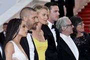 "Zoe Kravitz,Tom Hardy,Charlize Theron, Nicholas Hoult and Georges Miller attend Premiere of ""Mad Max: Fury Road"" during the 68th annual Cannes Film Festival on May 14, 2015 in Cannes, France."