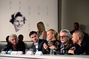 "(L-R) Moderator Henri Behar, actors Nicholas Hoult, Charlize Theron, director George Miller and actor Tom Hardy attend the ""Mad Max: Fury Road"" press Conference during the 68th annual Cannes Film Festival on May 14, 2015 in Cannes, France."
