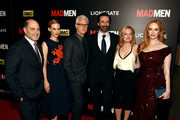 "(L-R) Matthew Weiner, January Jones, John Slattery, Jon Hamm, Elisabeth Moss and Christina Hendricks attend the ""Mad Men"" New York Special Screening at The Museum of Modern Art on March 22, 2015 in New York City."