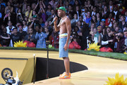 Designer/hip hop artist Tyler the Creator performs at Tyler, the Creator's fashion show for Made LA at L.A. Live on June 11, 2016 in Los Angeles, California.