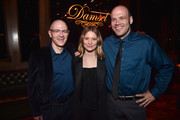 """David Zellner, Mia Wasikowska and Nathan Zellner attend the after party for the premiere of Magnolia Pictures' """"Damsel"""" at ArcLight Hollywood on June 13, 2018 in Hollywood, California."""