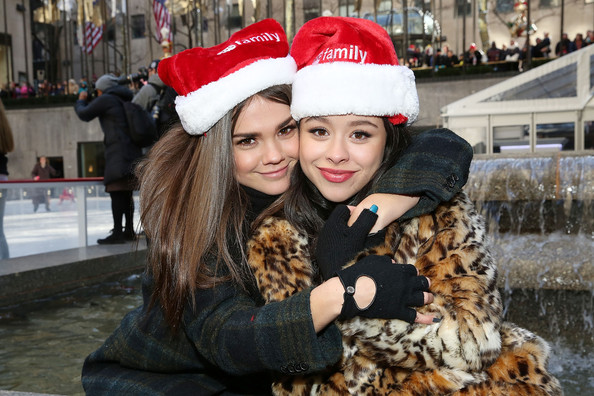 "ABC's ""25 Days Of Christmas"" Celebration [25 days of christmas,people,snapshot,interaction,tree,smile,fur,christmas,friendship,headgear,selfie,actresses,maia mitchell,cierra ramirez,cucina,new york city,rockerfellar center,abc,celebration]"