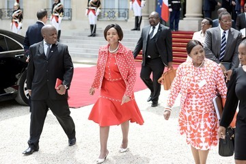 Maite Nkoana-Mashabane French President Francois Hollande Receives South African President Jacob Zuma At Elysee Palace in Paris