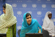 (L-R) Shazia Ramzan, Malala Yousafzai and Amina Yusuf attend a press conference during the United Nations General Assembly at the United Nations on September 25, 2015 in New York City.