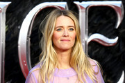 "Edith Bowman attends the European premiere of ""Maleficent: Mistress of Evil"" at Odeon IMAX Waterloo on October 09, 2019 in London, England."