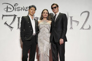 (L-R) MIYAVI, Angelina Jolie, and Sam Riley attend the Japan premiere of 'Maleficent: Mistress of Evil' on October 03, 2019 in Tokyo, Japan.