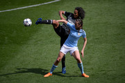 Jill Scott of Manchester City Women and Wendie Renard of Lyon clash during the UEFA Women's Champions League Semi Final, first leg match between Manchester City Women and Lyon at The Academy Stadium on April 22, 2018 in Manchester, England.