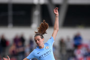 Jill Scott of Manchester City in action during the UEFA Women's Champions League Semi Final First Leg match between Manchester City and Olympique Lyonnais at The Academy Stadium on April 22, 2018 in Manchester, England.