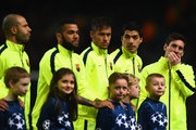 (L-R) Javier Mascherano, Daniel Alves, Lionel Messi, Luis Suarez and Neymar of Barcelona  line up during the UEFA Champions League Round of 16 match between Manchester City and Barcelona at Etihad Stadium on February 24, 2015 in Manchester, United Kingdom.