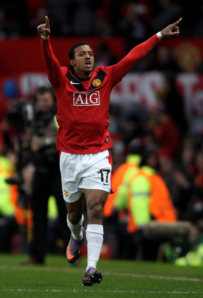 Nani of Manchester United celebrates scoring his team's second goal during the UEFA Champions League Quarter Final second leg match between Manchester United and Bayern Muenchen at Old Trafford on April 7, 2010 in Manchester, England.